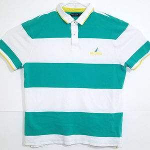 Nautica Green/White Striped Polo Shirt 2XL